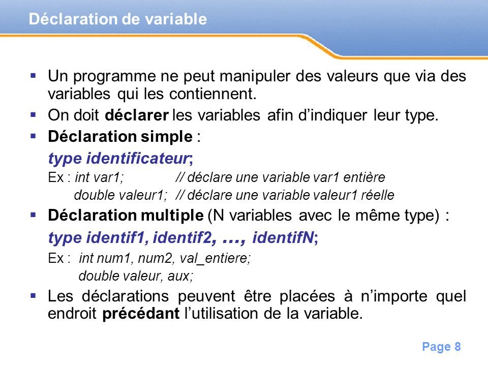 Déclaration de variable