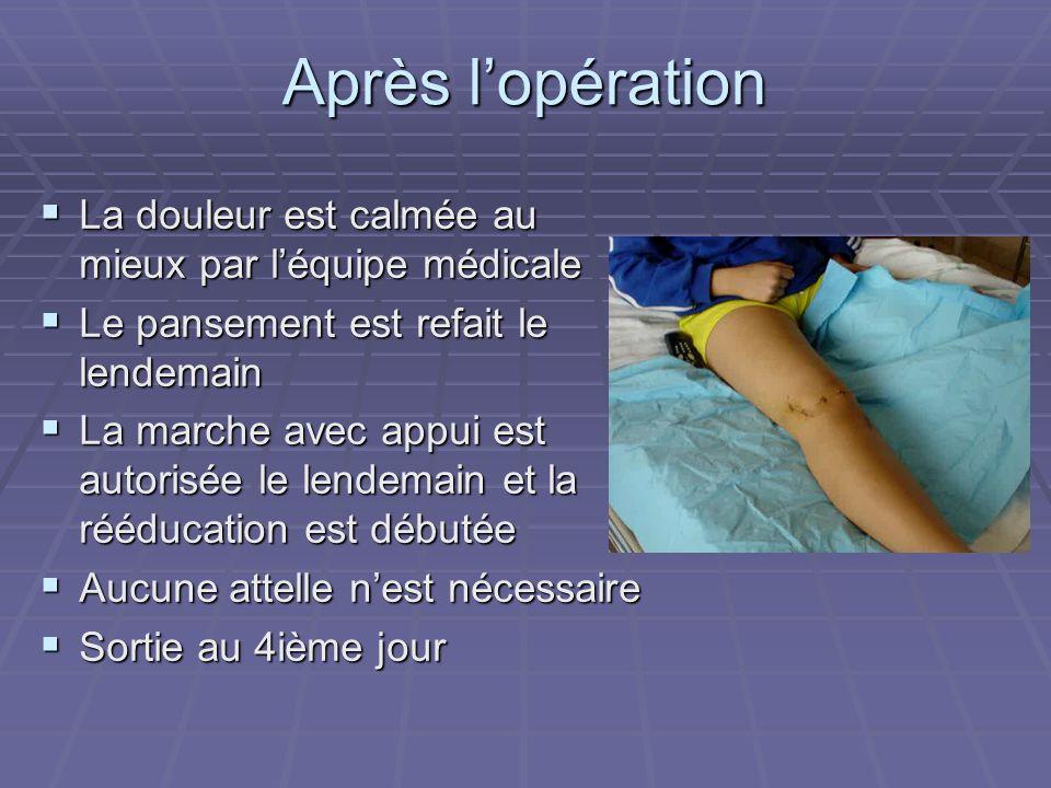 Après l'opération La douleur est calmée au mieux par l'équipe médicale