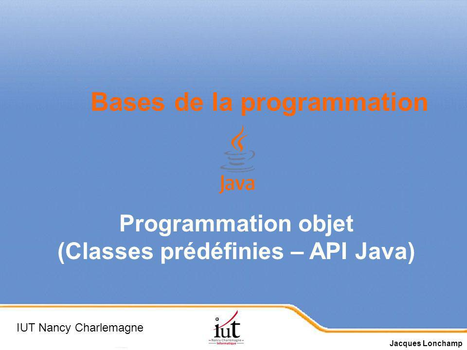 (Classes prédéfinies – API Java)