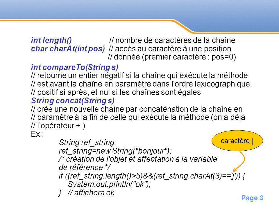 int length() // nombre de caractères de la chaîne