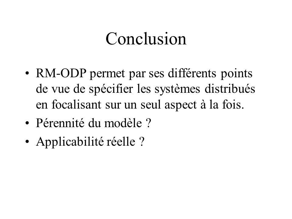 ConclusionRM-ODP permet par ses différents points de vue de spécifier les systèmes distribués en focalisant sur un seul aspect à la fois.