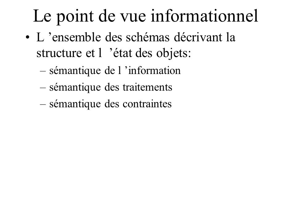 Le point de vue informationnel