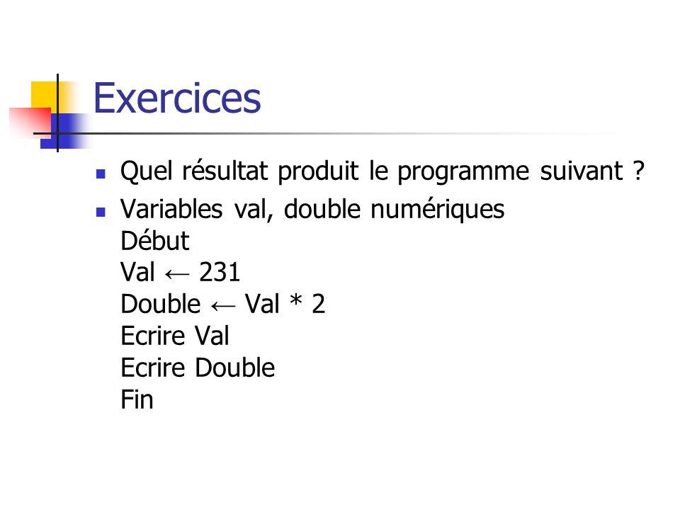 Exercices Quel résultat produit le programme suivant
