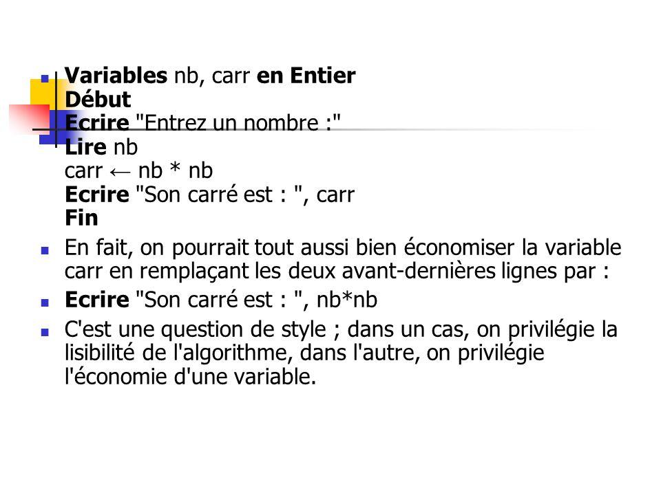 Variables nb, carr en Entier Début Ecrire Entrez un nombre : Lire nb carr ← nb * nb Ecrire Son carré est : , carr Fin