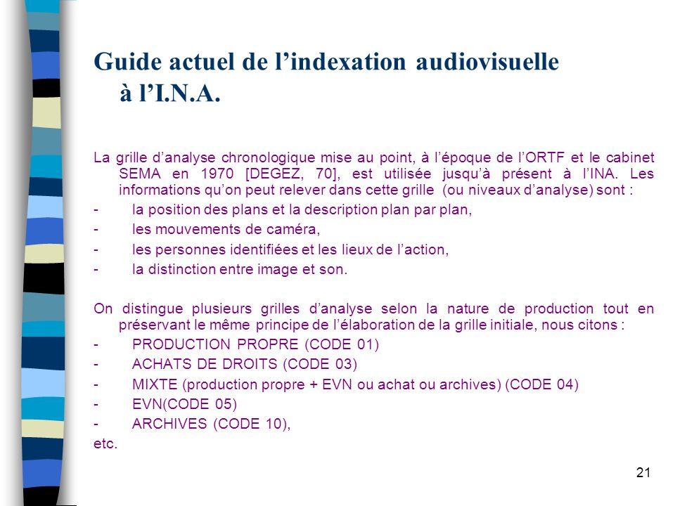 Guide actuel de l'indexation audiovisuelle à l'I.N.A.