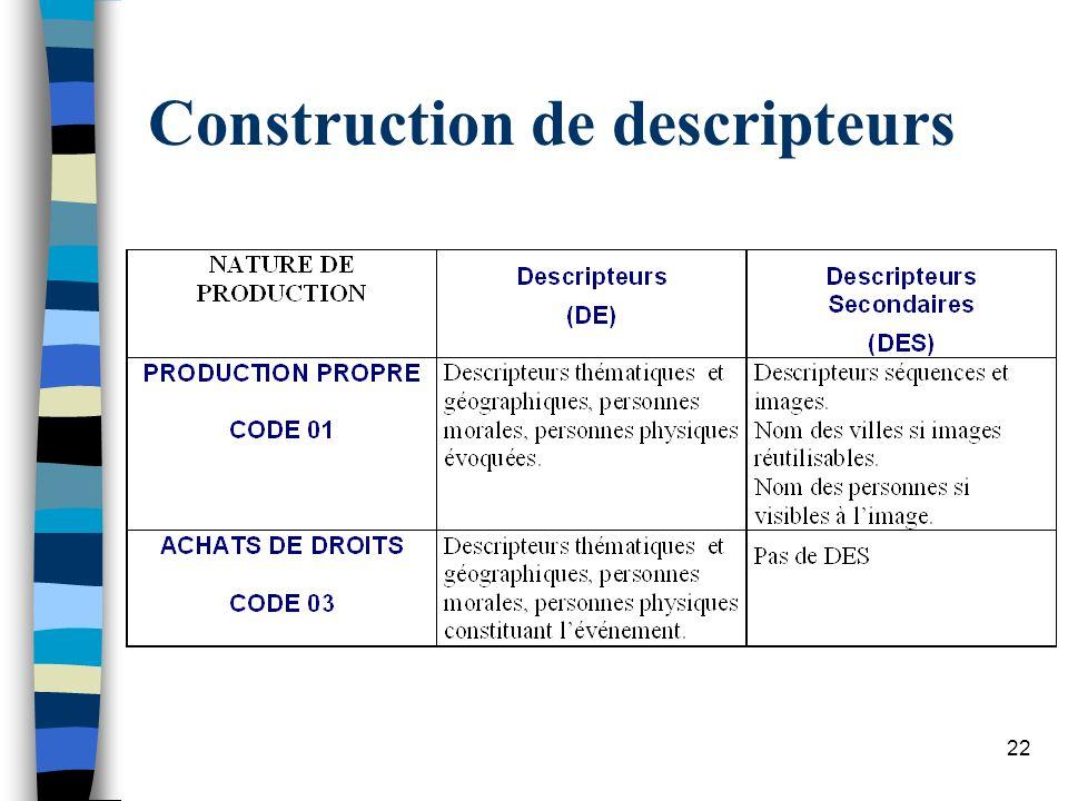 Construction de descripteurs