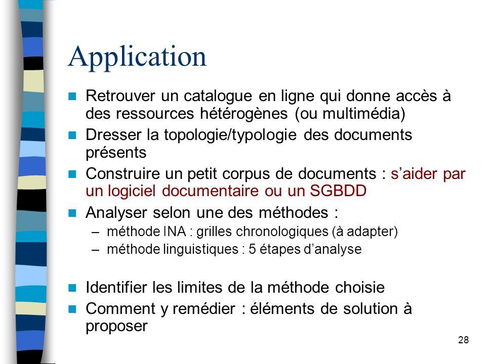 Application Retrouver un catalogue en ligne qui donne accès à des ressources hétérogènes (ou multimédia)