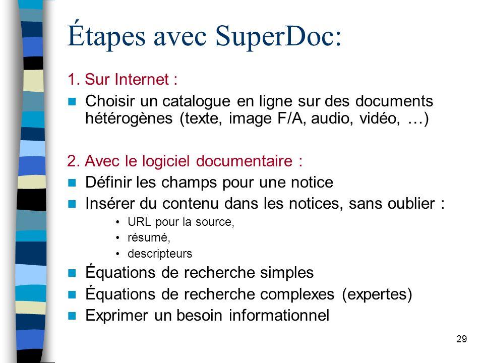 Étapes avec SuperDoc: 1. Sur Internet :