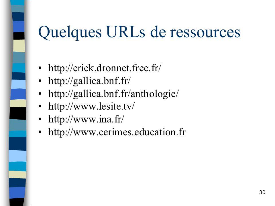 Quelques URLs de ressources