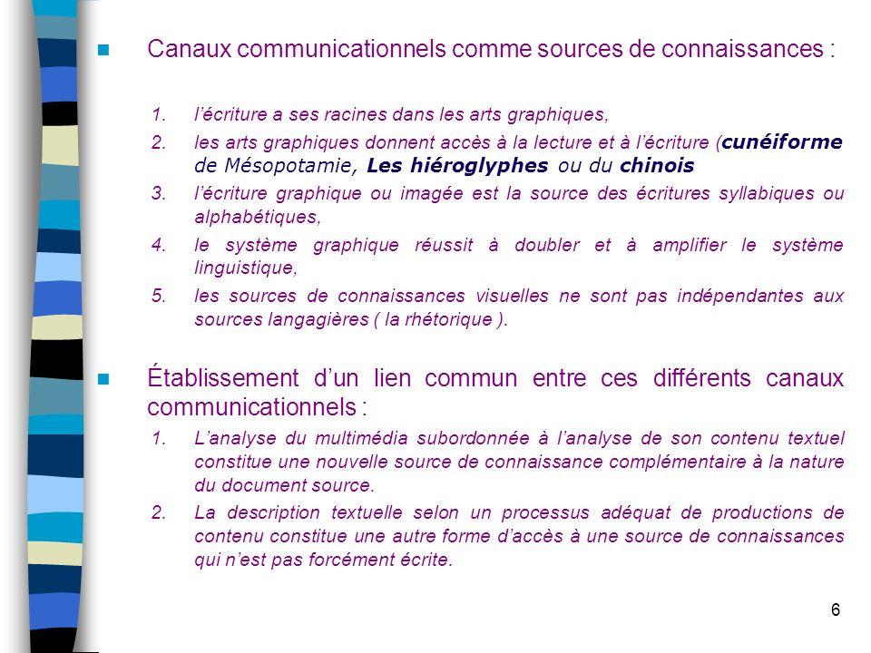 Canaux communicationnels comme sources de connaissances :