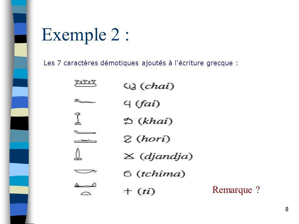 Exemple 2 : Les 7 caractères démotiques ajoutés à l écriture grecque : Remarque