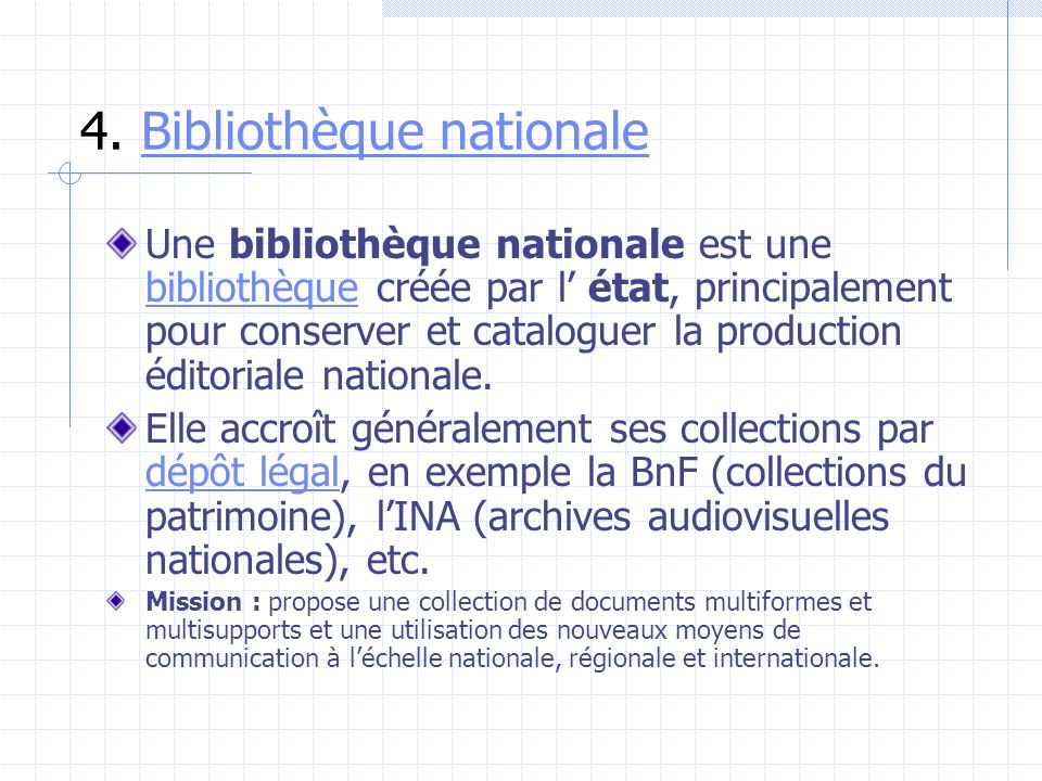 4. Bibliothèque nationale