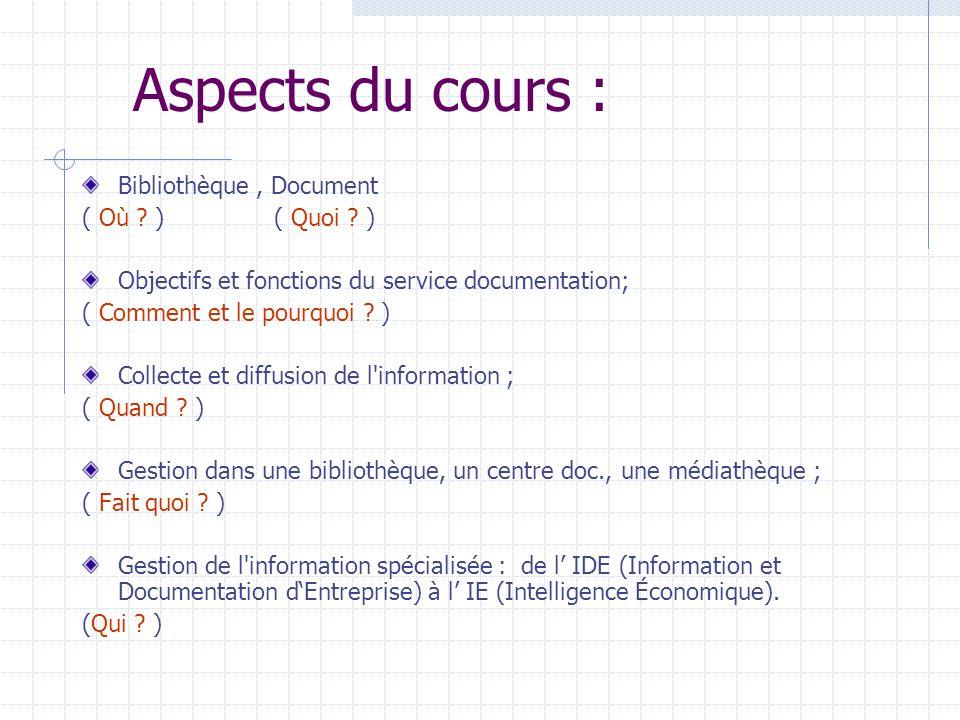 Aspects du cours : Bibliothèque , Document ( Où ) ( Quoi )