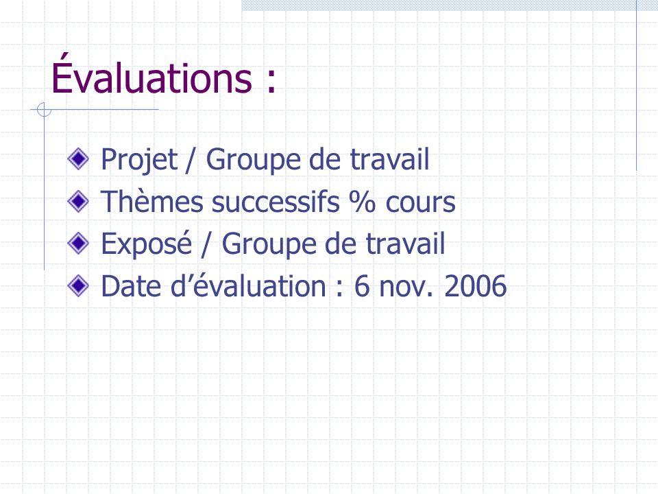 Évaluations : Projet / Groupe de travail Thèmes successifs % cours