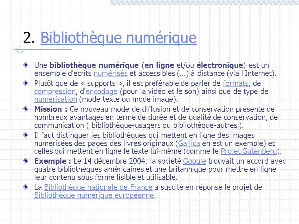 2. Bibliothèque numérique