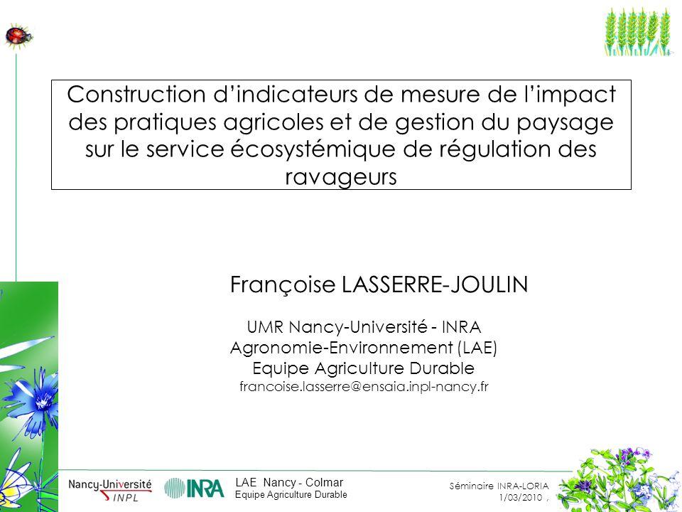 Construction d'indicateurs de mesure de l'impact des pratiques agricoles et de gestion du paysage sur le service écosystémique de régulation des ravageurs