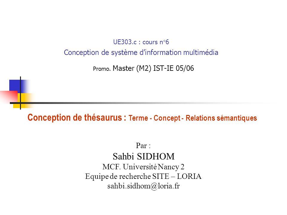 UE303.c : cours n°6 Conception de système d'information multimédia