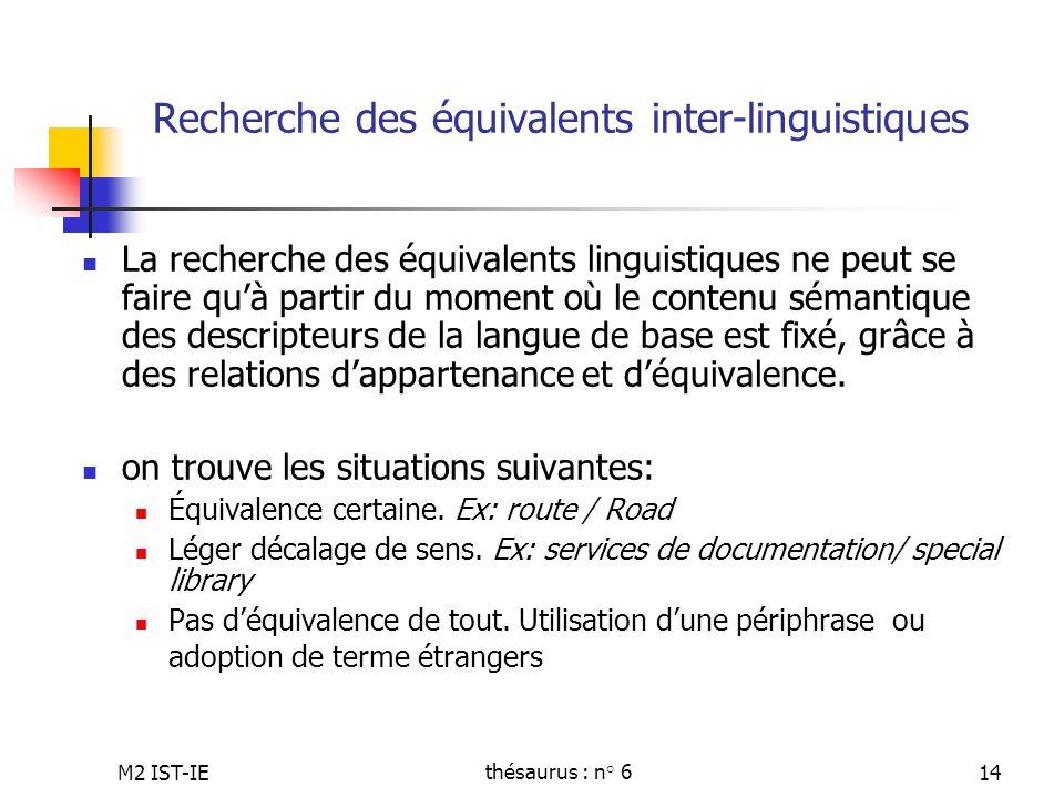Recherche des équivalents inter-linguistiques