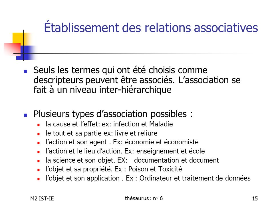 Établissement des relations associatives