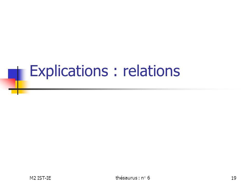 Explications : relations