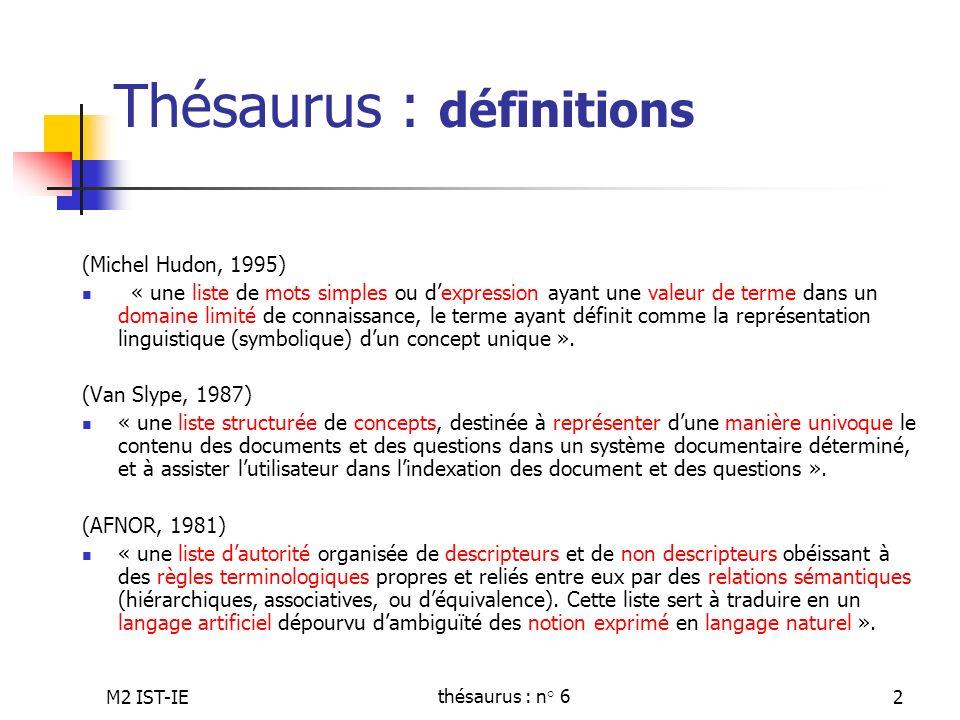 Thésaurus : définitions