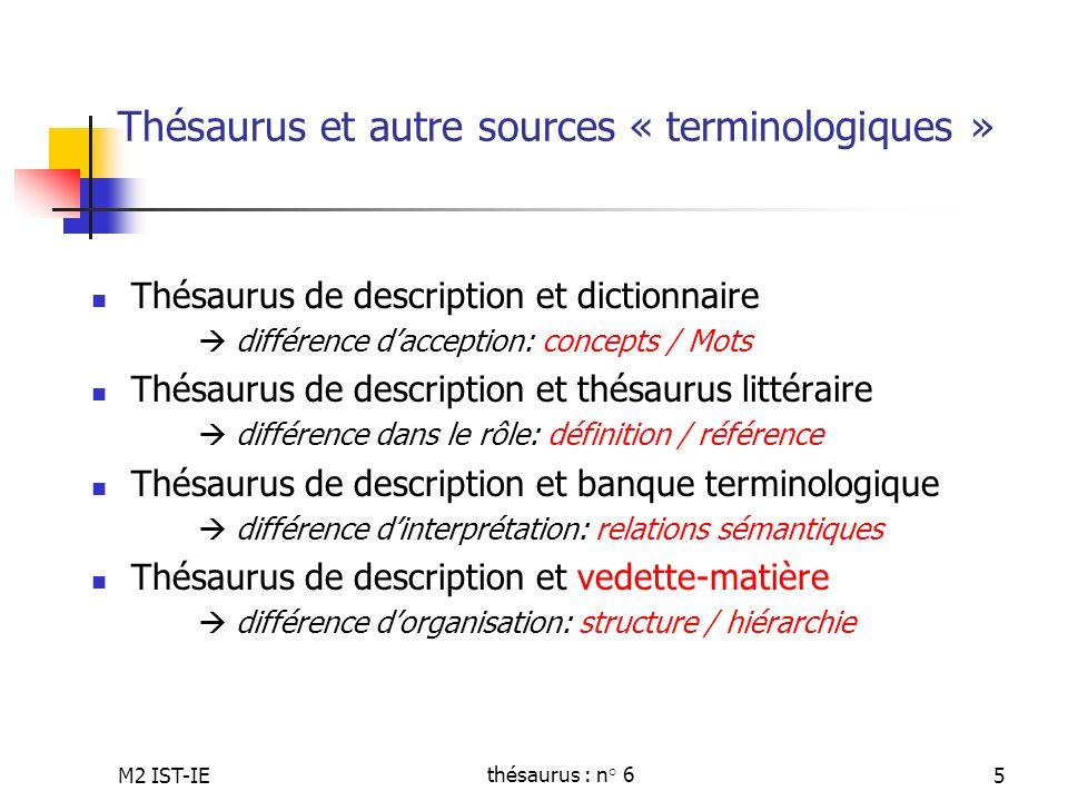 Thésaurus et autre sources « terminologiques »
