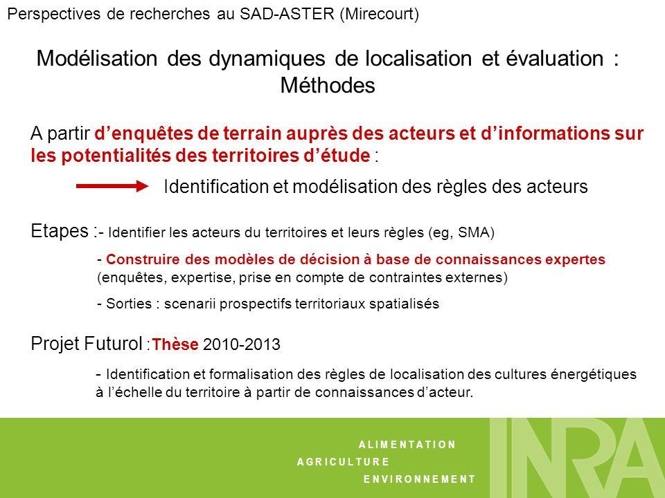 Modélisation des dynamiques de localisation et évaluation : Méthodes