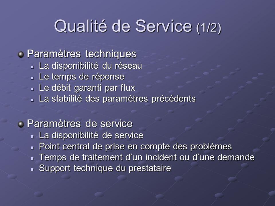 Qualité de Service (1/2) Paramètres techniques Paramètres de service