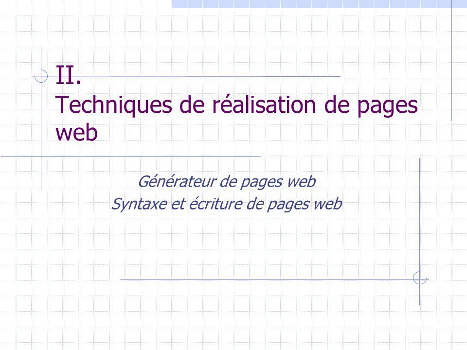 II. Techniques de réalisation de pages web