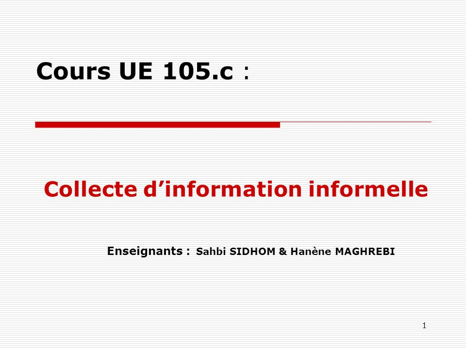 Enseignants : Sahbi SIDHOM & Hanène MAGHREBI