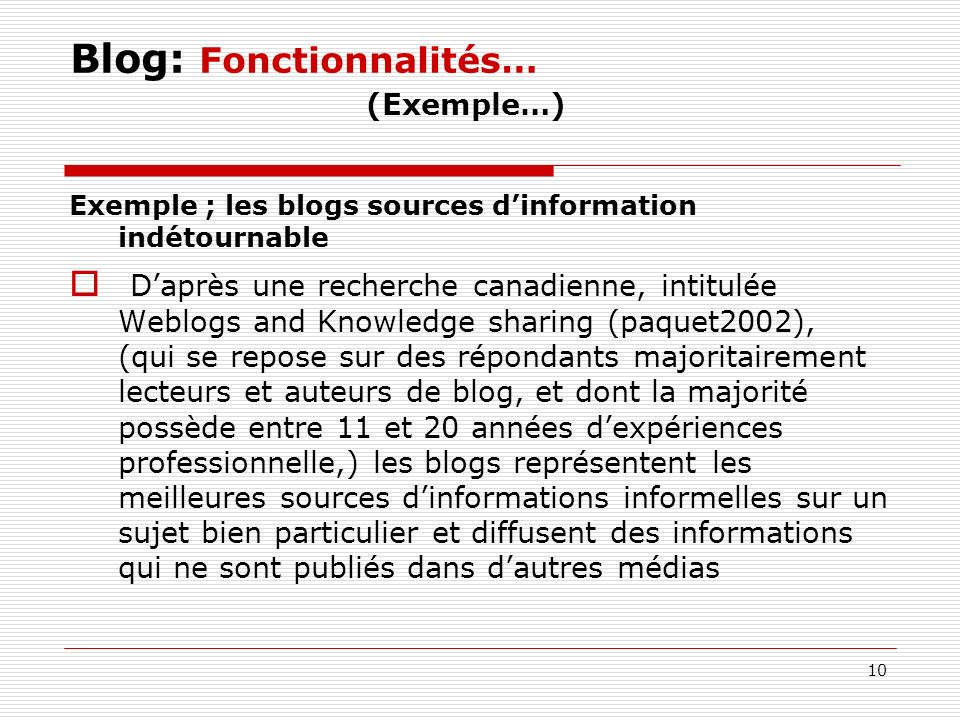 Blog: Fonctionnalités… (Exemple…)