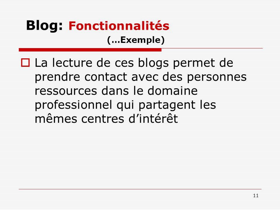Blog: Fonctionnalités (…Exemple)