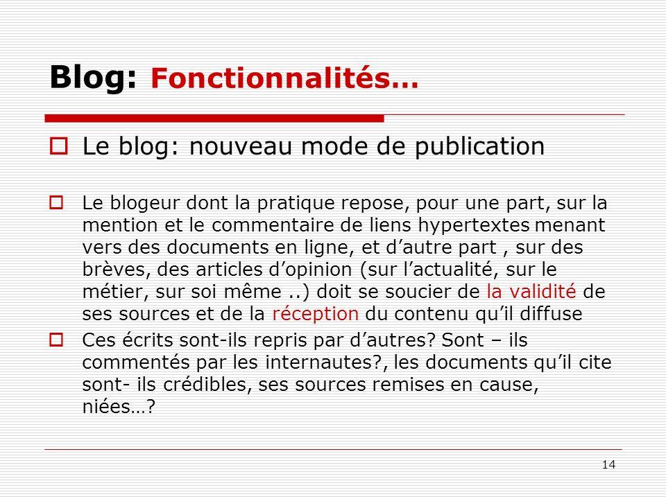 Blog: Fonctionnalités…