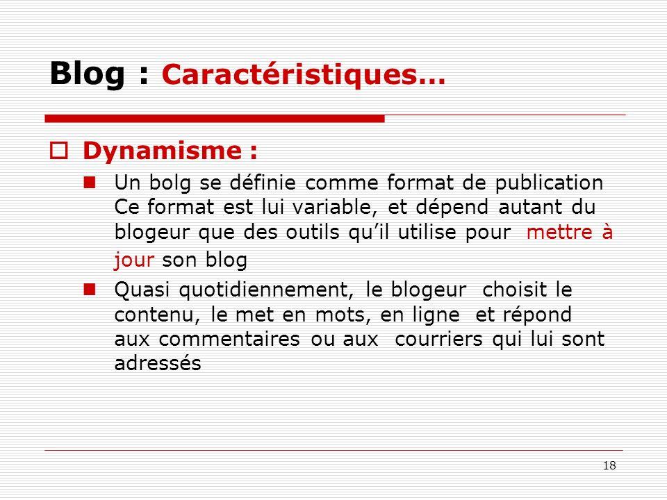 Blog : Caractéristiques…