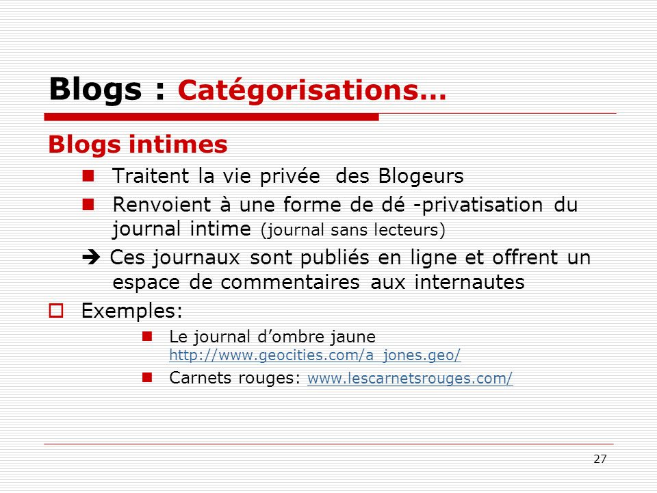 Blogs : Catégorisations…