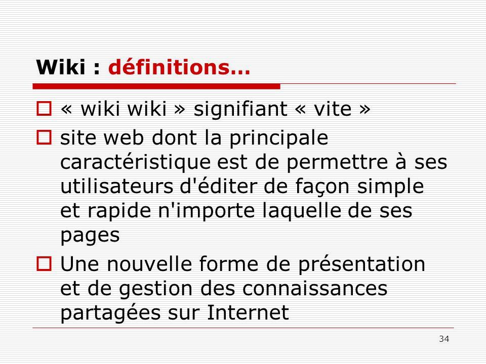 Wiki : définitions… « wiki wiki » signifiant « vite »