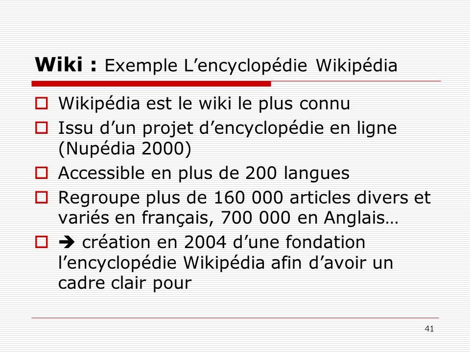 Wiki : Exemple L'encyclopédie Wikipédia