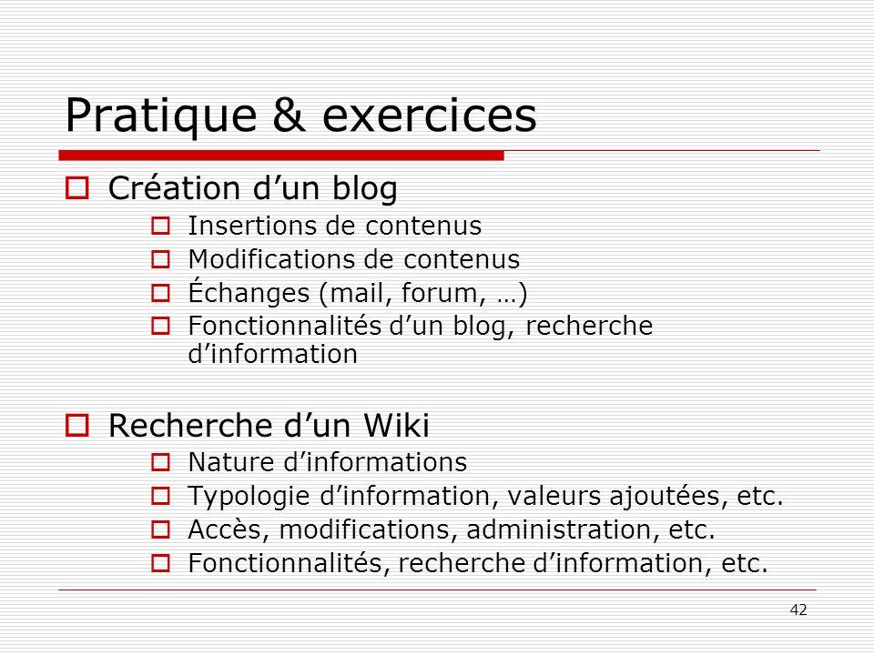 Pratique & exercices Création d'un blog Recherche d'un Wiki