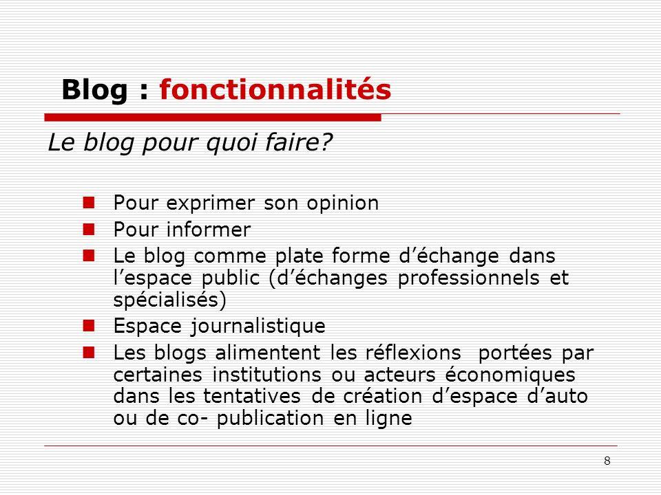 Blog : fonctionnalités