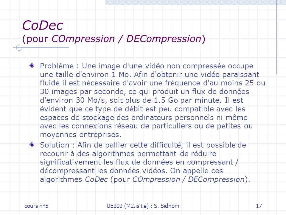 CoDec (pour COmpression / DECompression)