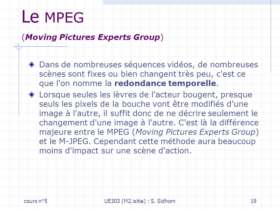 Le MPEG (Moving Pictures Experts Group)