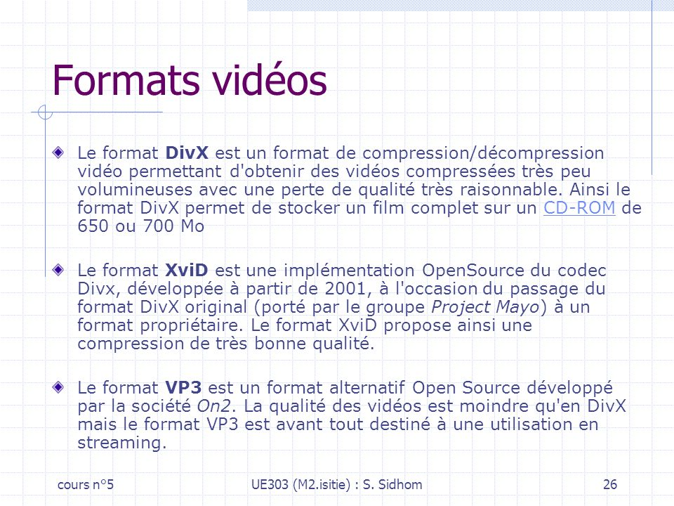Formats vidéos