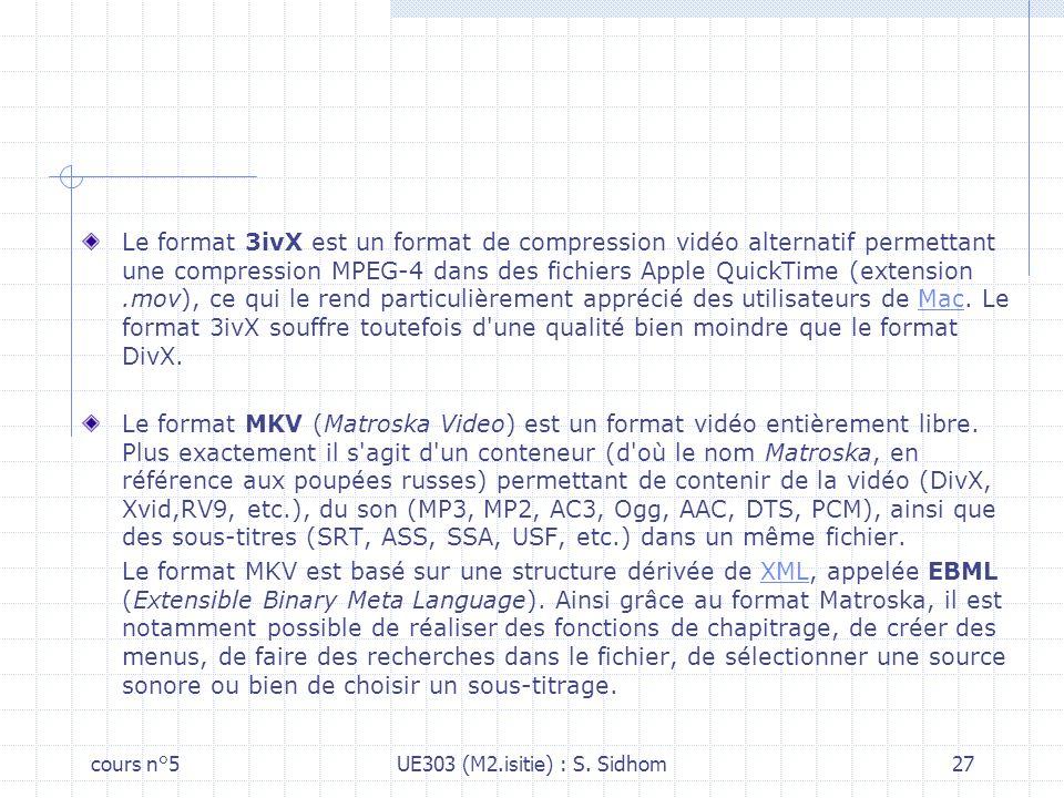 Le format 3ivX est un format de compression vidéo alternatif permettant une compression MPEG-4 dans des fichiers Apple QuickTime (extension .mov), ce qui le rend particulièrement apprécié des utilisateurs de Mac. Le format 3ivX souffre toutefois d une qualité bien moindre que le format DivX.