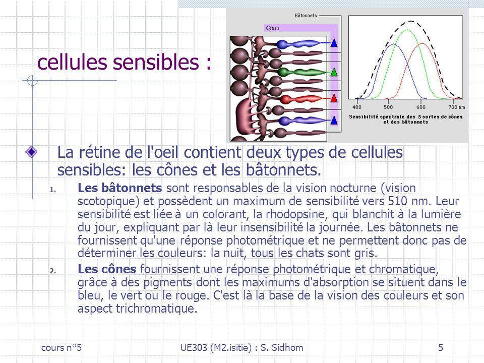cellules sensibles : La rétine de l oeil contient deux types de cellules sensibles: les cônes et les bâtonnets.