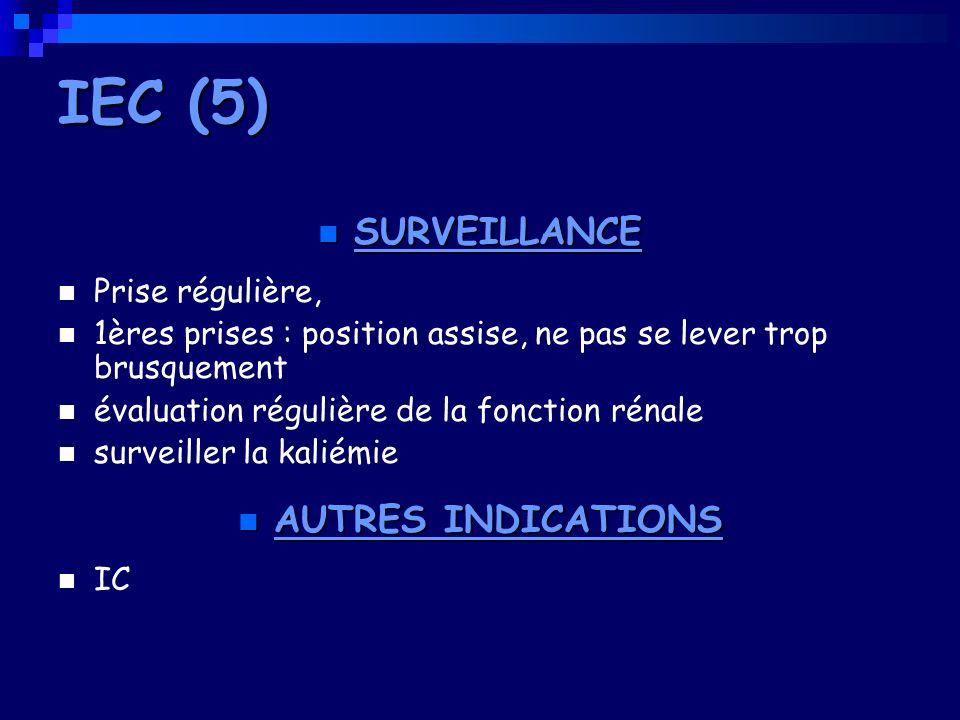 IEC (5) SURVEILLANCE AUTRES INDICATIONS Prise régulière,