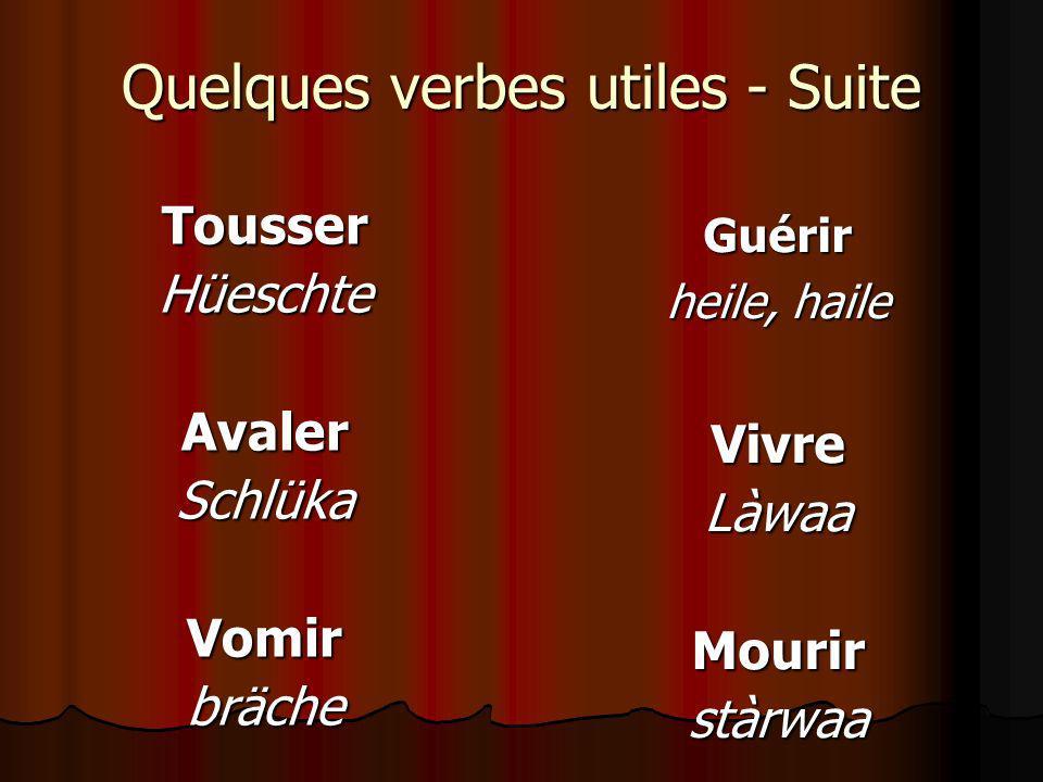 Quelques verbes utiles - Suite