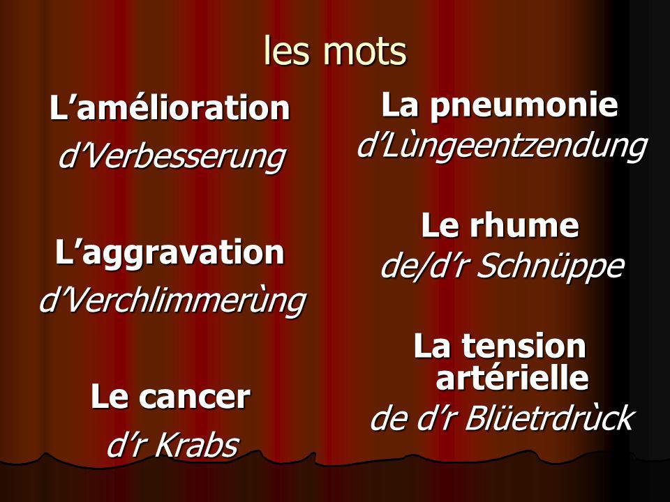 les mots L'amélioration La pneumonie d'Verbesserung d'Lùngeentzendung