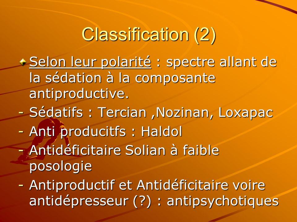 Classification (2)Selon leur polarité : spectre allant de la sédation à la composante antiproductive.