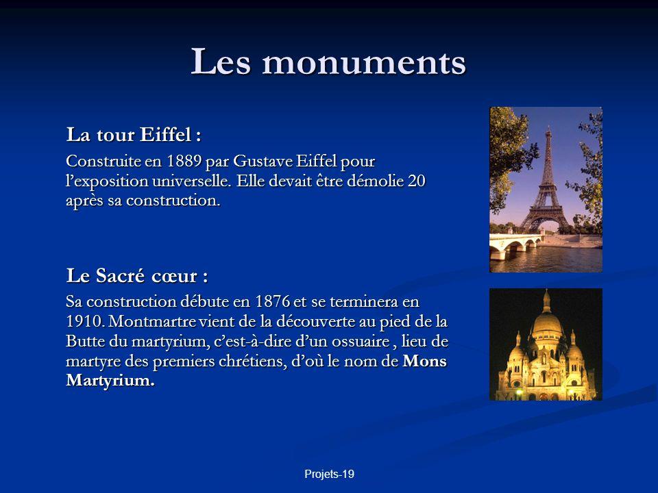 Les monuments La tour Eiffel : Le Sacré cœur :