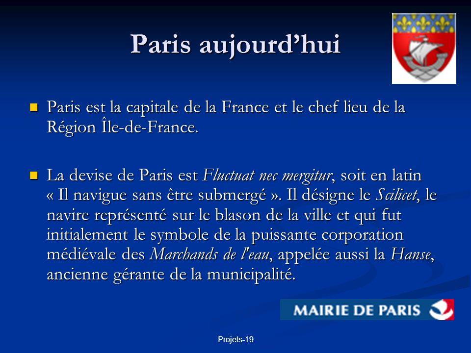 Paris aujourd'hui Paris est la capitale de la France et le chef lieu de la Région Île-de-France.